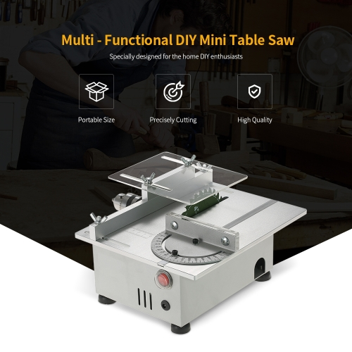 100W Mini Table Saw Aluminum Miniature DIY Multi-function Woodworking Bench Saw