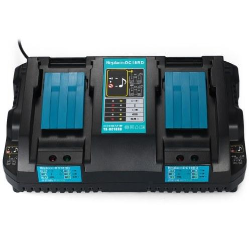 Power Tool Зарядные устройства для аккумуляторов DC18RD Dual Ports Fast Charger Подходит для батарей Makita 4А, 120 Вт, 7,2 В - 18 В Адаптер питания фото