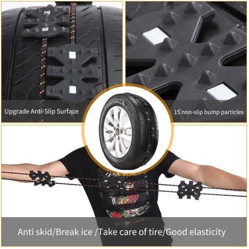 4pcs Winter Anti Skid Emergency Chain Non-slip Universal Black Snow Chains Kit for Car Truck SUV MPV Auto Car Accessories with Snow Scraper