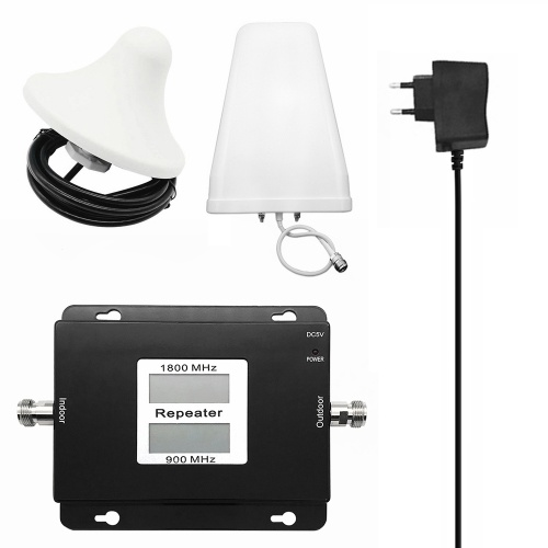 GSM/DCS 900/1800MHz 2G/4G Dual Band Dual LCD Display Mobile Phone Signal Booster Cell Phone Signal Repeater Signal Amplifier Set