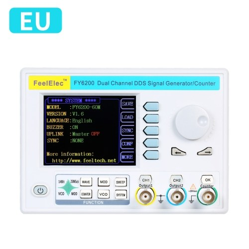 "FeelElec FY6200-60M 60MHz Function Signal Generator 3.2"" LCD Digital DDS Dual-channel Function"