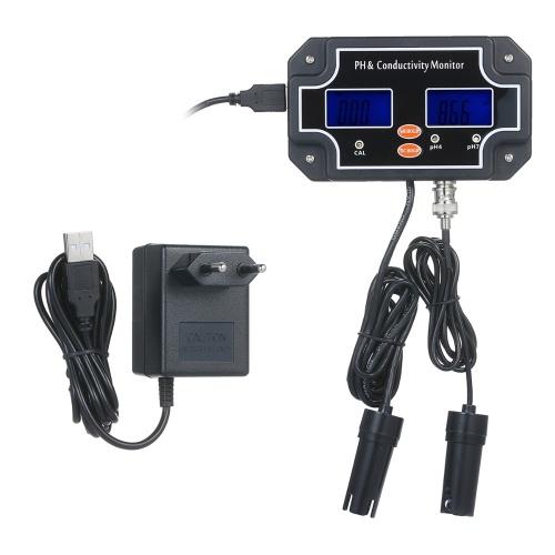 2 in 1 Water Quality Tester pH/EC Meter Waterproof Double Display Tester Black EU Plug PH/EC-2681