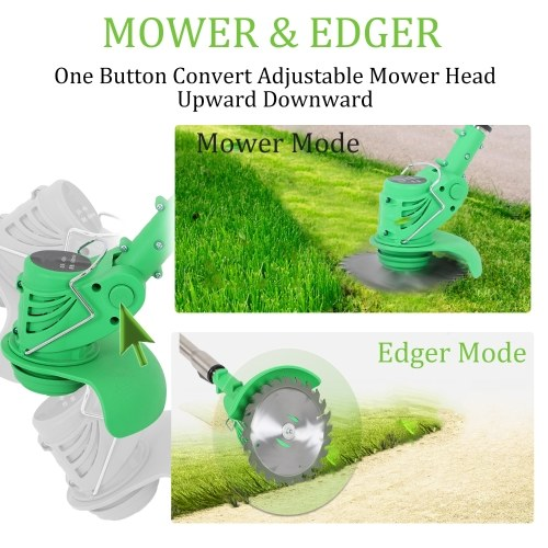Electric Grass Trimmer Edger Lawn Mower 21V 3000mAh Lithium-Ion Cordless Weed Brush Cutter Kit Pruning Cutter Garden Tools EU Plug with Replace Blade