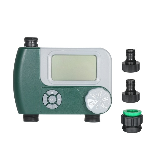 Programmable Digital Hose Faucet Timer Outdoor Battery Operated Automatic Watering Sprinkler System Irrigation Controller with 2 Outlet for Garden Plants (Batteries Not Included)