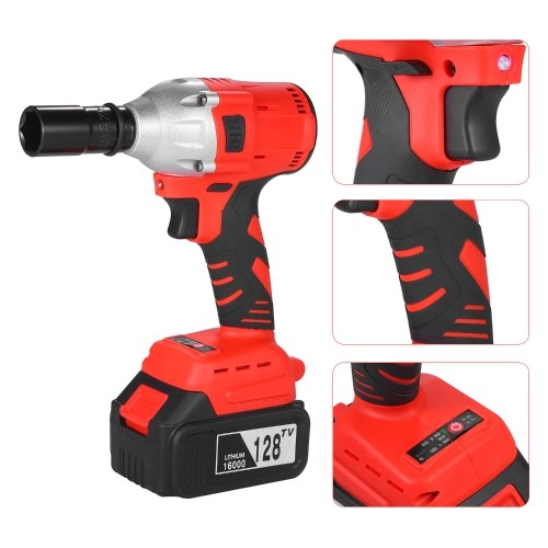 Electric Brushless Wrench 21V Cordless Impact Wrench 1/2-inch Chuck Max Torque 280N.m with 2PCS 128TV 16000mAh Rechargeable Lithium Battery
