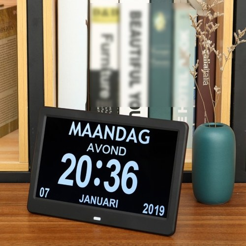 10.1 Inch High Definition Digital Large Non-Abbreviated Day Clock Date Time Display Table Alarm Clocks