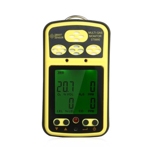 SMART SENSOR ST8990 Перезаряжаемый газоанализатор 4 в 1 O 1 LEL CO H₂S Газоанализатор Датчик с подсветкой ЖК-дисплей с функцией сигнализации