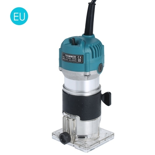 220V 800W Trim Router 30000r/min with Transparent Base Edge Guide Wood Laminate Electric Trimmer Compact Palm Router Corded for Woodworking Trimming Slotting Notching / Aluminum Blue