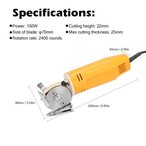 WD-2 Handheld Portable Minishear 70mm Round Blade Electric Cloth Cutter Fabric Cutting Machine