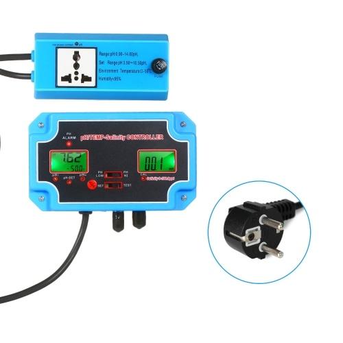 230V 3-en-1 pH / Salinidad / TEMP Detector de calidad del agua pH / TEMP-Controlador de salinidad Valor 14.00pH 0-199.9ppt Probador de calidad del agua de salinidad para acuario Monitor de tanque hidropónico