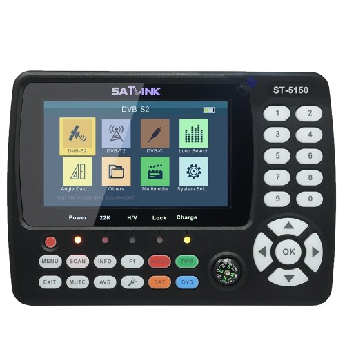 ST-5150 DVB-S2/T2/C COMBO HD Satellite TV Signal Finder Digital Handheld Signal Meter Satellite Finder H.265 HEVC MPEG-4 4.3 Inch TFT LCD