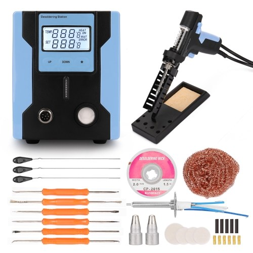 HANDSKIT ZD-8915 LCD Digital Display Desktop Electric Automatic Soldering Iron Suction Device Temperature Controlled Desoldering Station Set Desoldering Pump