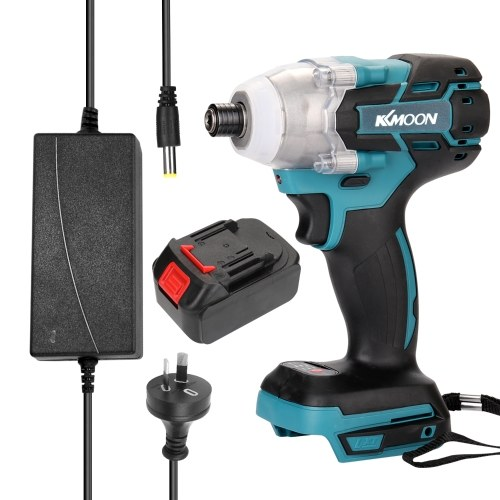 18V Cordless Impact Wrench Screw Driver Brushless Motor High Torque Electric Wrench with Battery and Charge Device