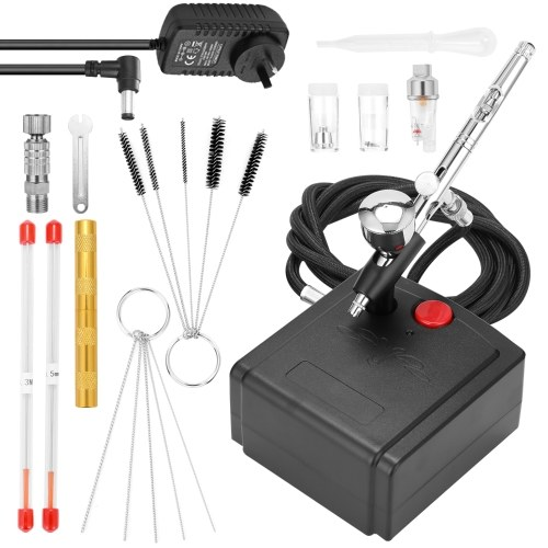 Professional Airbrush Set for Model Making Art Painting with Air Compressor+Power Adapter+Airbrush+Airbrush Holder+0.3mmneedle+0.5mmneedle+0.3mm nozzle+0.5mm nozzle+G1/8 Fast-adapter+Wrench+Hose+Golden Airbrushneedle Tool+Oil-water Separator+Dropper