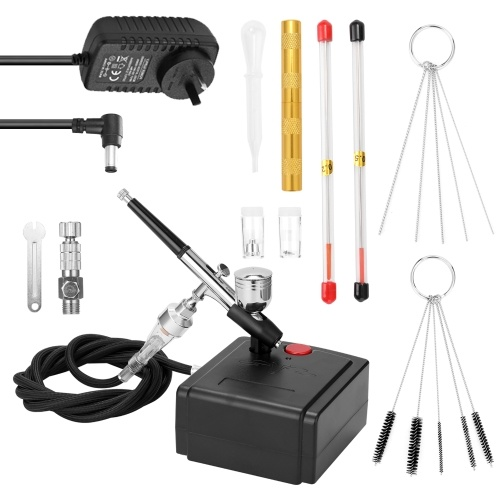 Professional Airbrush Set for Model Making Art Painting with Air Compressor+Power Adapter+Airbrush+Airbrush Holder+0.2mmneedle+0.5mmneedle+0.2mm nozzle+0.5mm nozzle+G1/8 Fast-adapter+Wrench+Hose+Golden Airbrush-Needle Tool+Oil-water Separator+Dropper