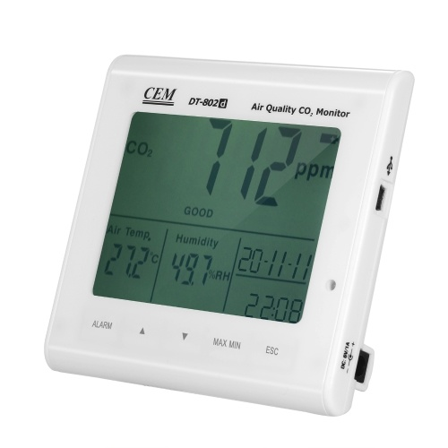 CEM Rechargeable Carbon Dioxide Detector Lithium Battery Operated Electric High Precision CO2 Concentration Monitor