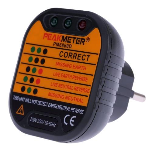 PEAKMETER PM6860D automatische Steckdose Tester Neutral Live Earth Wire testen Schnellerkennung EU Stecker 230V