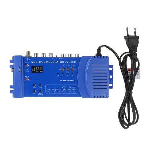 MMS80ホームUHF変調器オプションのPAL / NTSC複数変調システムCATVUHF信号増幅器100〜240VEUプラグコンパクトアルミニウム合金ビデオ送信機変調器