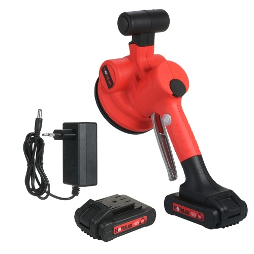KKmoon 500~12000RPM/MIN Handheld Tile Tiling Machine Self-locking Wall Floor Tiling Machine Portable Tiles Laying Tool Electric Trowel with 130*130mm Suction Cup Dual 10000mAh Lithium Battery EU Plug
