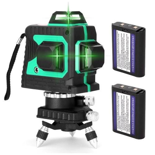 Ferramenta de nível de laser multifuncional 3D de 12 linhas Linhas horizontais verticais com função de autonivelamento de 3 °