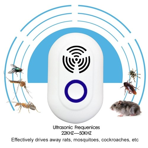 KKmoon Ultrasonic Pest Repeller Plug-and-Use Electronic Control Repellent Pest Control Device with LED Light for Mice Mosquitos Cockroaches, TOMTOP  - buy with discount