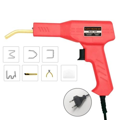Máquina de soldadura de plástico con grapadora en caliente de 50 W, kit de reparación de parachoques de coche, antorcha de soldadura, máquina de reparación de automóviles, pistola de soldador, enchufe europeo de 220 V, rojo