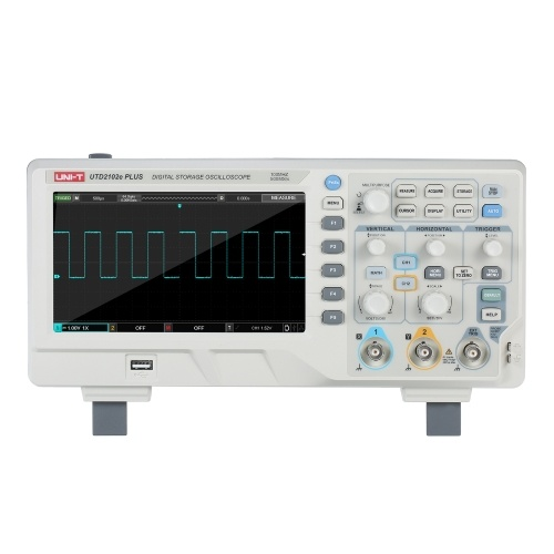UNI-T 2-CH Digital Oscilloscope with 7-inch LCD Display Scopemeter with 100MHz Bandwidth 2 Channels 500MS/S Real Time Sample Rate 64kpts Depth Storage EU Plug