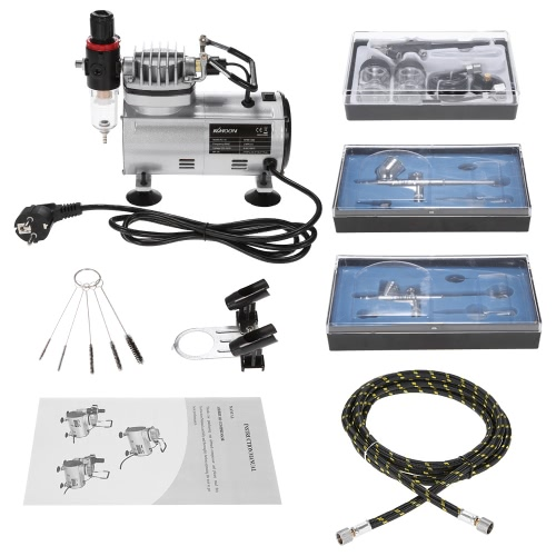 KKmoon Brand New Professional 3 Airbrush Kit With Air Compressor Dual-Action Hobby Spray Air Brush Set Tattoo Nail Art Paint Supply w/ Cleaning Brush