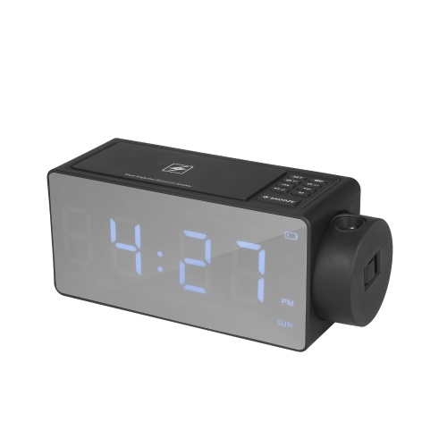 Projection Alarm Clock with BT Speaker 180°Projector Wireless Charging Dual Alarms Snooze Large Mirror LED Display Dimmer for Bedroom Office