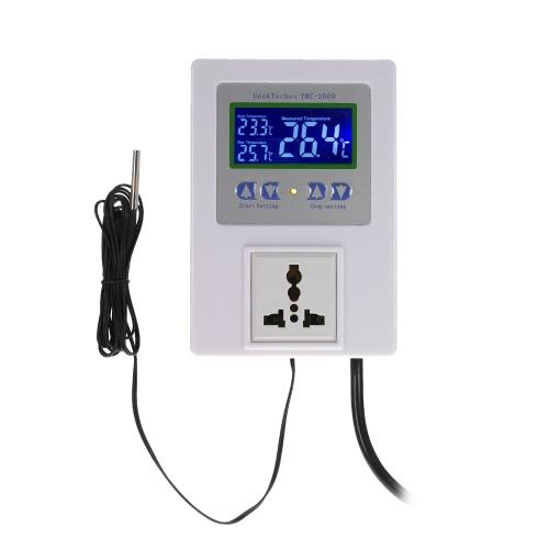 AC110-240V 10A LCD numérique intelligent pré-câblé Sortie de régulateur de température avec capteur Thermostat Chauffage Refroidissement Commutateur de commande