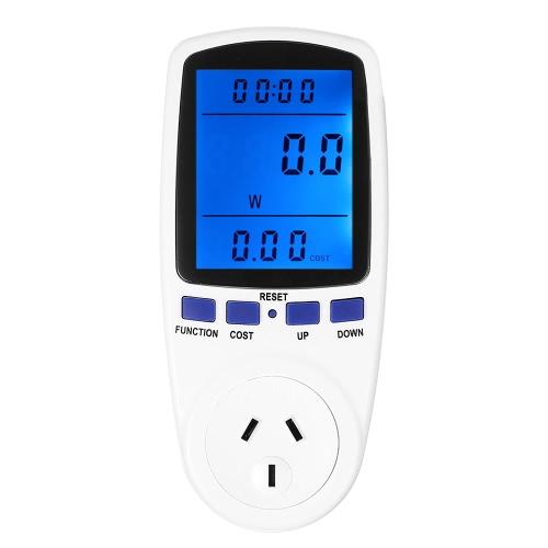 Wtyczka 240V AU plug-cyfrowe LCD Energy Meter Moc Napięcie Prąd Częstotliwość Monitora Analyzer z Power Factor przeciążenia Koszt wyświetlaczem