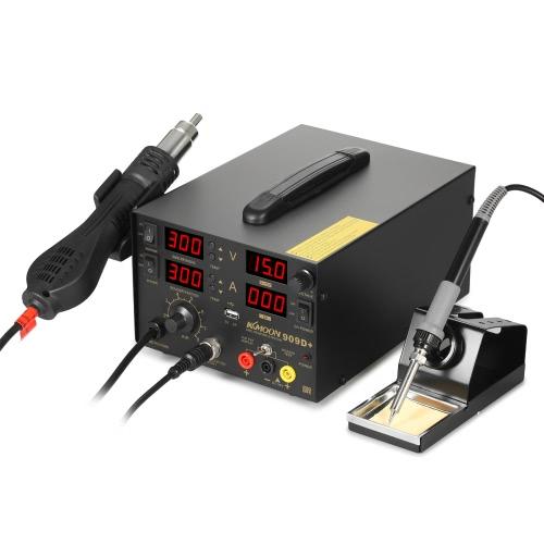 KKmoon 800W 4 em 1 Digital SMD Rework Estação de solda Fonte de alimentação DC Soldador Hot Air Gun Suporte de solda Desolder Set BGA Bocais Carregamento USB Reparação do telefone 909D + 110-120V