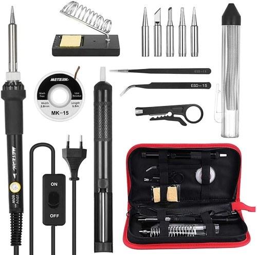 Meterk 14 in 1 Soldering Iron Kit 60W Adjustable Temperature Welding Soldering Iron