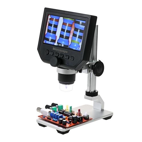 """600X 4,3 """"lcd vidéo électronique de Digital Microscope vidéo numérique de l'affichage à cristaux liquides 3.6MP pour l'entretien de téléphone portable QC / inspection industrielle / de collection avec la batterie au lithium rechargeable intégrée de support en métal"""