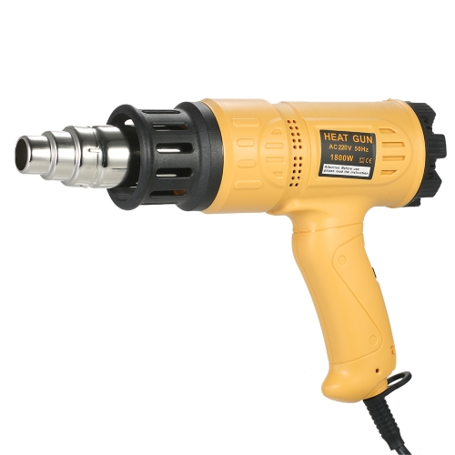 1800W Industrial Fast Heating Hot Air Gun Adjustable Temperature Speed Hot Heat Shrink Blower Tool with 4 Nozzles AC110V US Plug