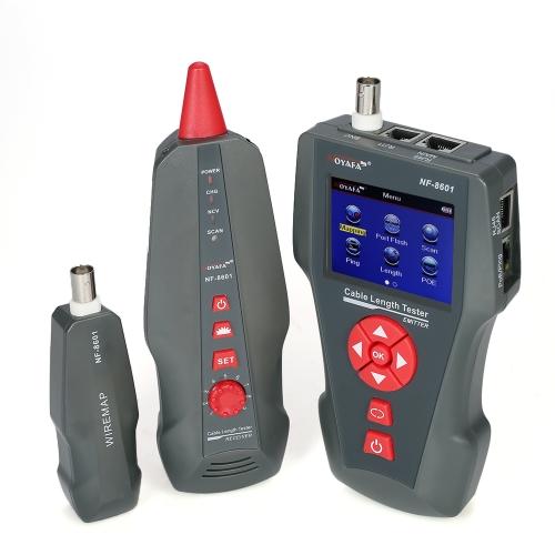 Tester per cavi di rete LCD multifunzionale Wire Tracker RJ11 RJ45 BNC Wire Finder con 1 adattatore a distanza PING & POE Testing AC110-220V