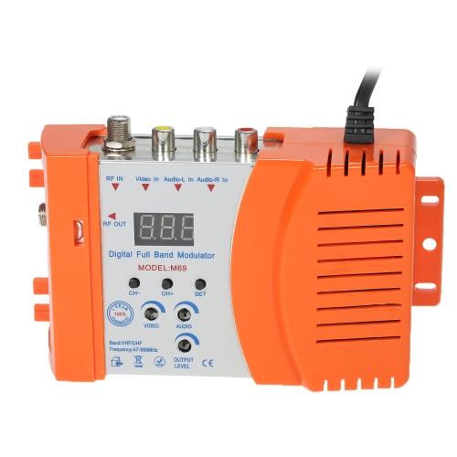 コンパクトRF変調器オーディオビデオTVコンバータRHF UHF信号増幅器AC120V
