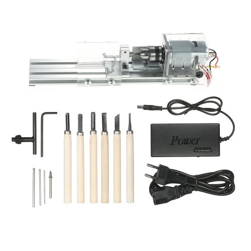 100W 12-24V Mini tornio perline Lucidatrice lavorazione del legno macchina del mestiere fai da te