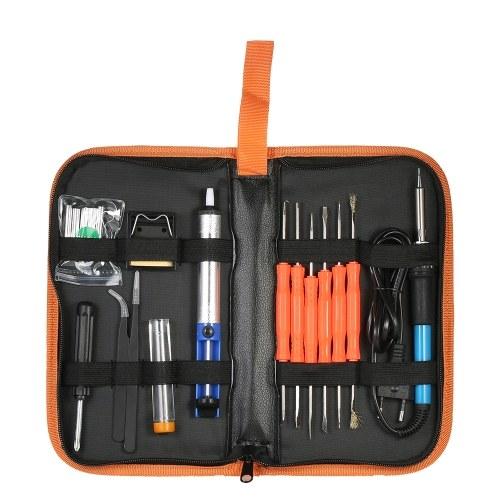 18pcs / set Kit di strumenti di saldatura 60 W 220 V Spina di UE Regolabile Temperatura Saldatore Dissaldatura Pompa di Ferro Stand Punte di Saldatura Con Sacchetto di Immagazzinaggio