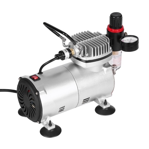 KKmoon Professional Gravity Feed Dual-Action Airbrush Piston Air Compressor Kit with 3 Airbrushes + 6ft Air Hose + Airbrush Holder