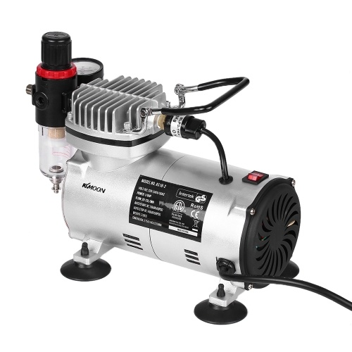 KKmoon Professional Gravity Feed Dual-Action Airbrush Piston Air Compressor Kit with 3 Airbrushes + 6ft Air Hose + Airbrush Holder + Cleaning Brush + 0.3mm Needle 220-240V