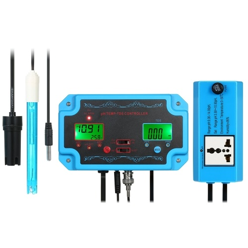 Professional 3 in 1 pH/TDS/TEMP Water Quality Detector pH Controller with Relay Plug Repleaceable Electrode BNC Type Probe Water Quality Tester for Aquarium Hydroponics Tank Monitor 14.00pH / 1999ppm 19.99ppt