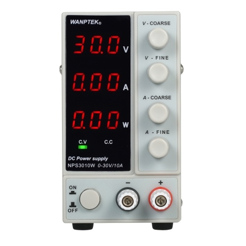 WANPTEK NPS3010W 0-30V 0-10A Switching DC Power Supply 3 Digits Display LED High Precision Adjustable Mini Power Supply AC 115V/230V 50/60Hz Voltage & Current Regulated Dual Output