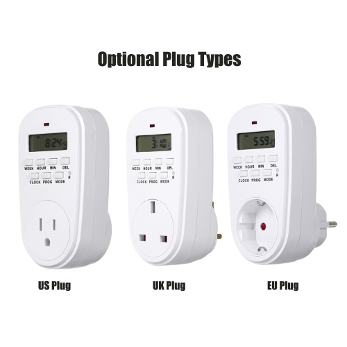 Digital Timer Switch Socket with LCD Display Plug-in Programmable Time Controller Intelligent Electronic Timing Socket