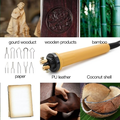 Wood Burner Pyrography Pen Burning Machine Gourd Crafts Tool Set With Welding Wire Top Adjustable Temperature