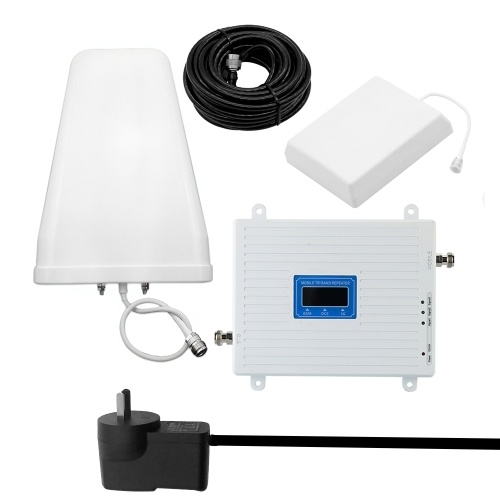 100-240V Tri Band Amplifier 900 1800 2100 GSM DCS WCDMA 2G/3G/4G LTE Universal Signal Booster Intelligent Repeater Kit