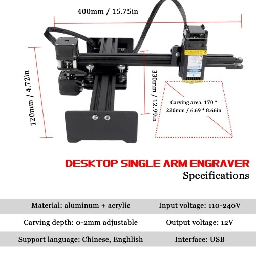 Desktop Single Arm Engraver Portable DIY Engraving Carving Machine Mini Carver