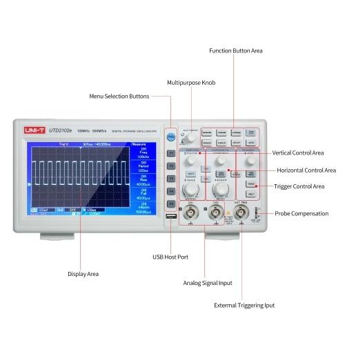 UNI-T UTD2102e Digital Oscilloscope 100MHz Bandwidth with USB OTG Interface 2 Channels 500Ms/S Storage Portable 7