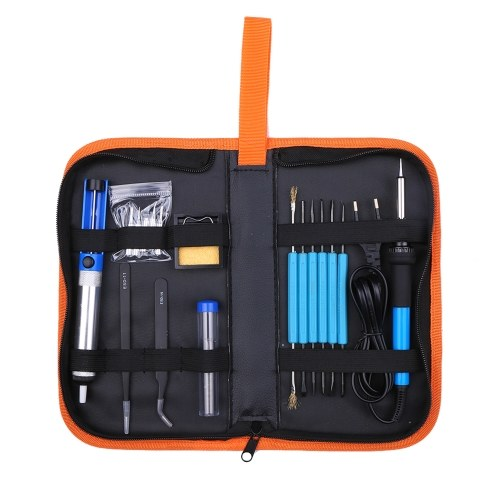 Электрический паяльник 60 Вт с регулируемой температурой и 5 паяльными жалами для переноски Портативный PU сумка для переноски фото
