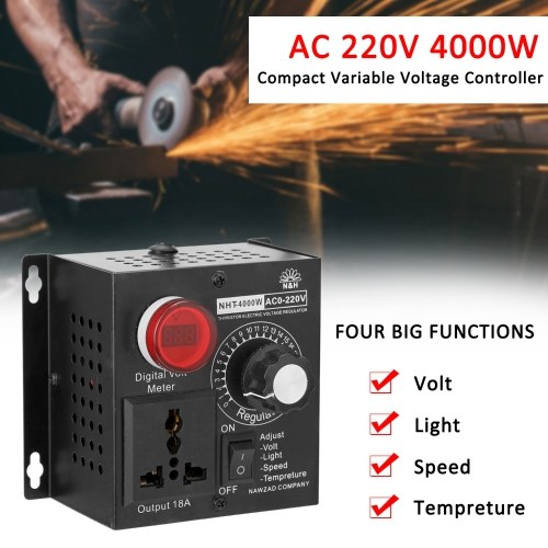 AC 220V 4000W Compact Variable Voltage Controller Portable Speed Temperature Light Voltage Adjuatable Dimmer фото